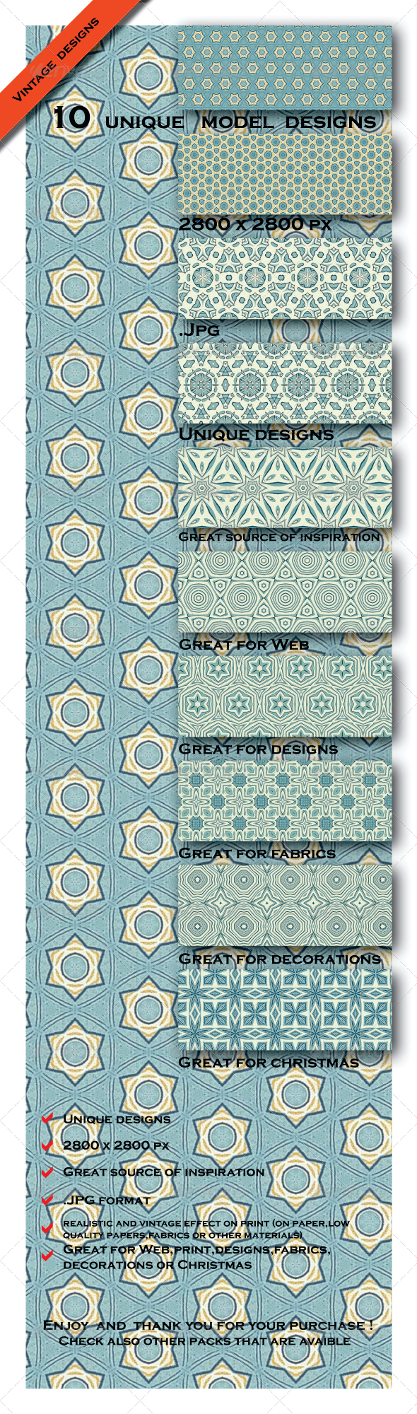 GraphicRiver 10 Vintage Decorative Model Elegante Patterns 6603690