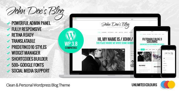 ThemeForest John Doe s Blog Clean Wordpress Blog Theme 6603795