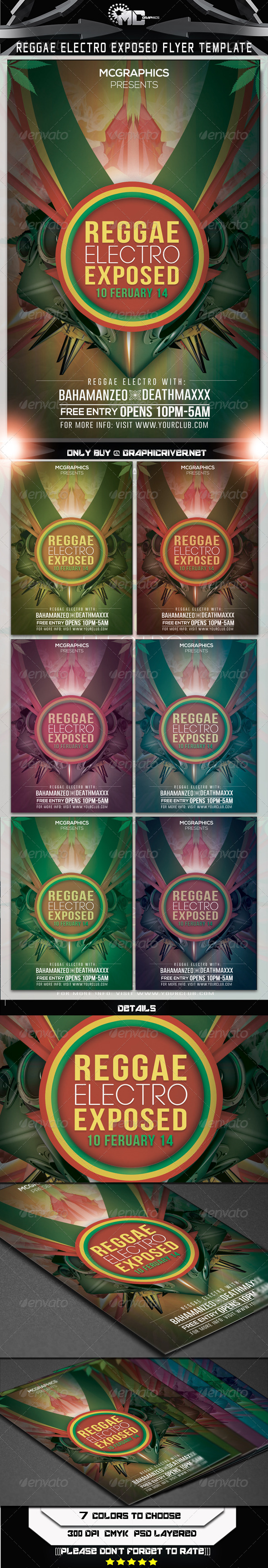 GraphicRiver Reggae Electro Exposed Flyer Template 6536901
