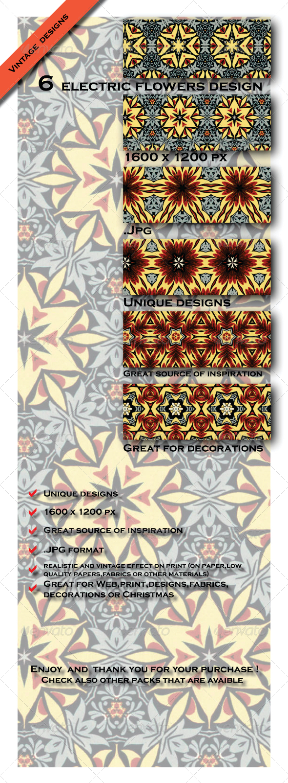 GraphicRiver Electric Variety Colorful Flower Pattern Pack 6604025
