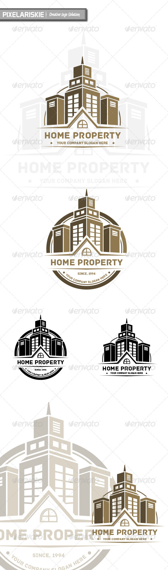 Home Property Vintage Arch Logo - Buildings Logo Templates