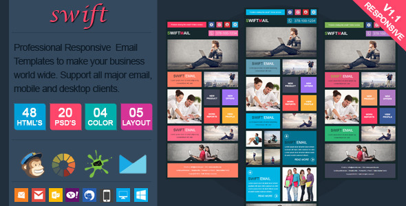 Swift - Elegant Responsive Email Template - Email Templates Marketing