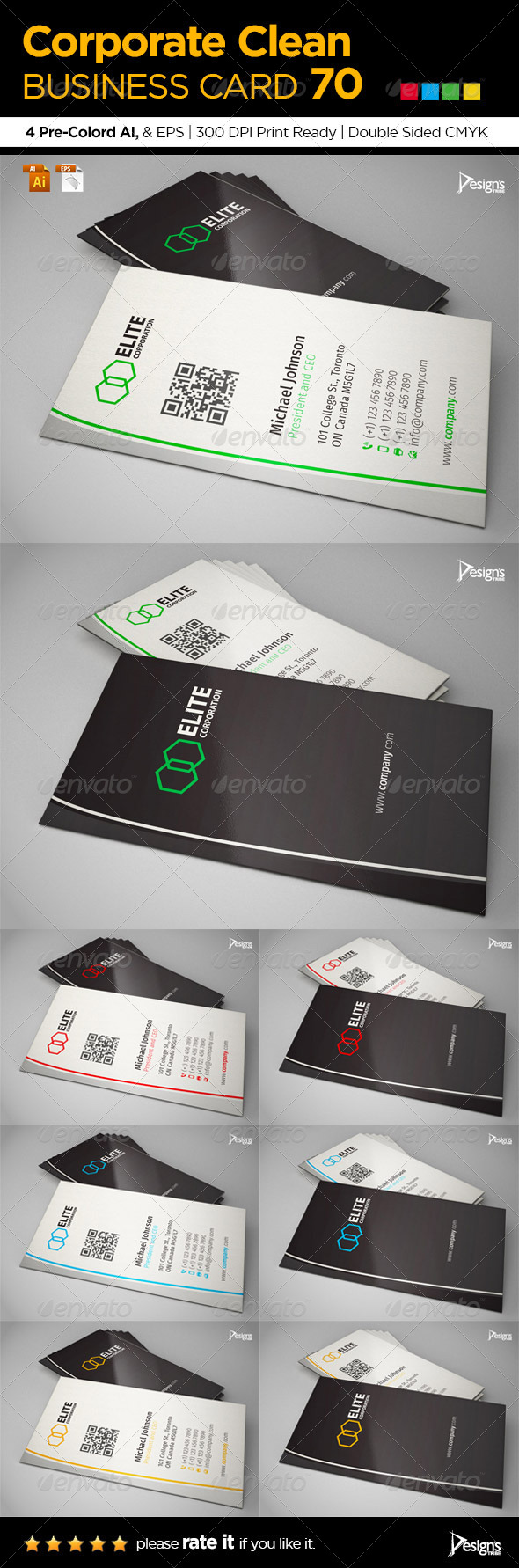 GraphicRiver Corporate Clean Business Card 70 6605509
