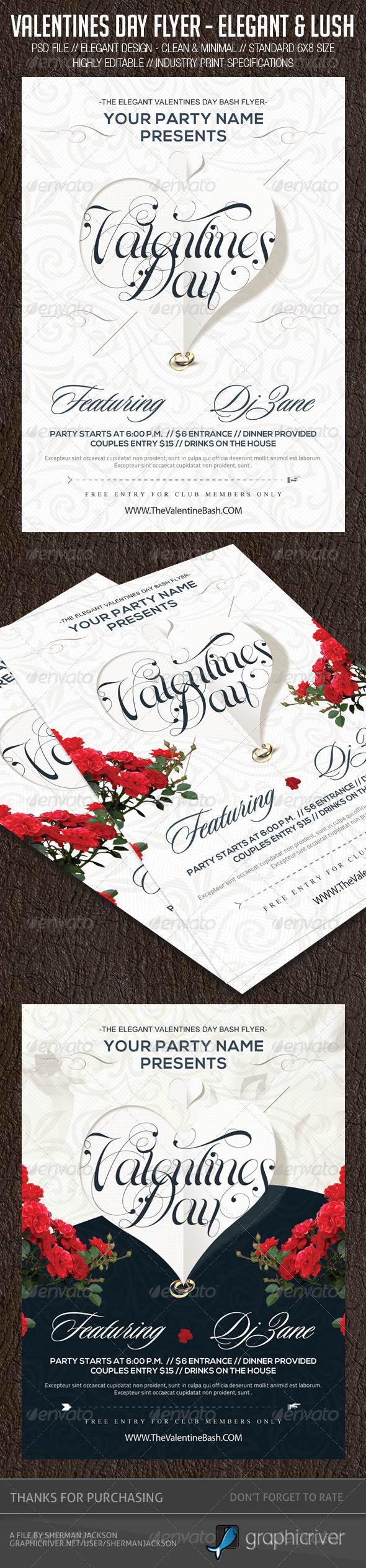 GraphicRiver Valentines Day Flyer Elegant & Lush 6606287