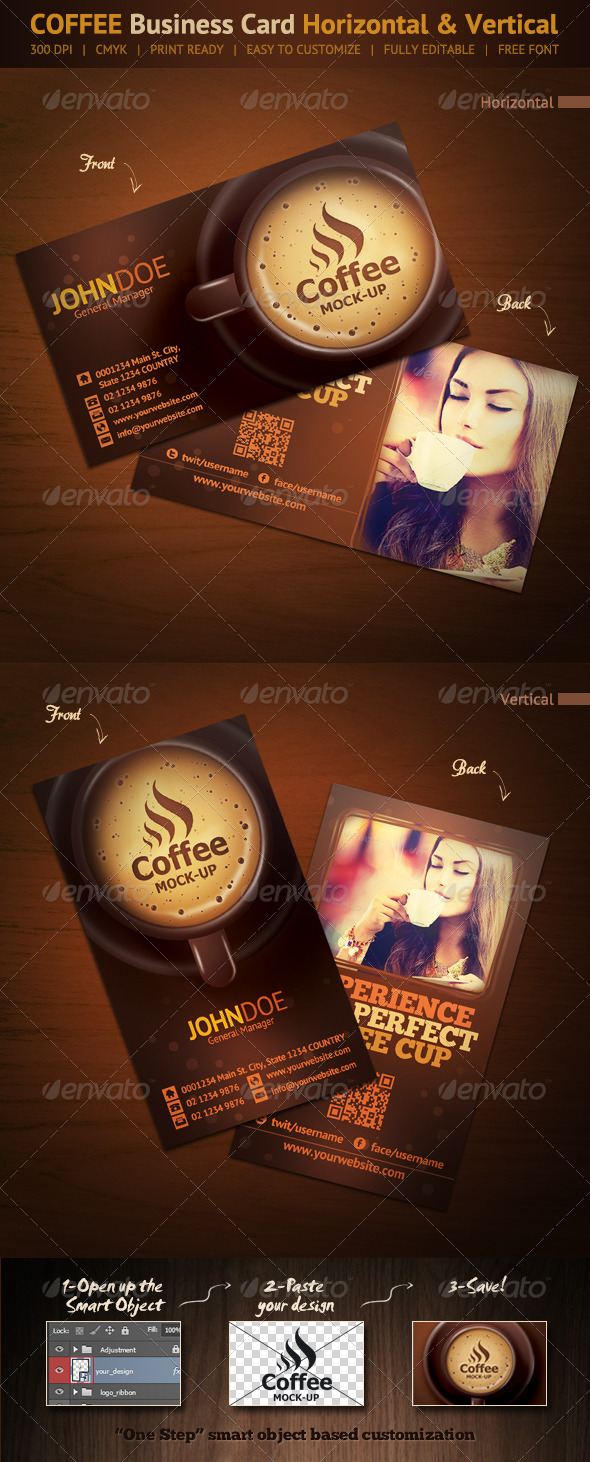 GraphicRiver Coffee Business Card Horizontal & Vertical 6606879