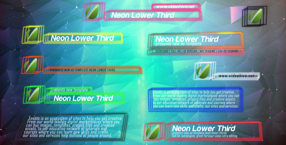 Neon Lines Lower Third V2 10 Pack