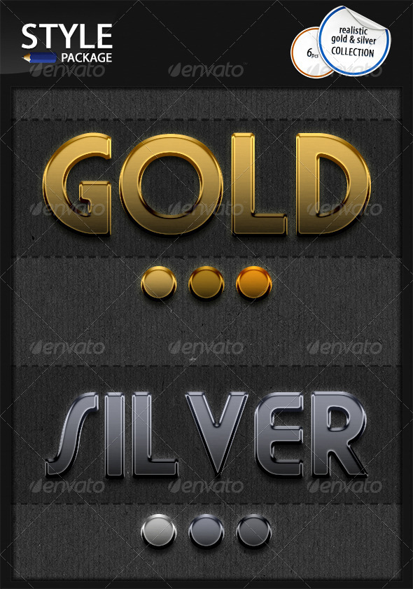 GraphicRiver Realistic Gold & Silver Styles 6608171