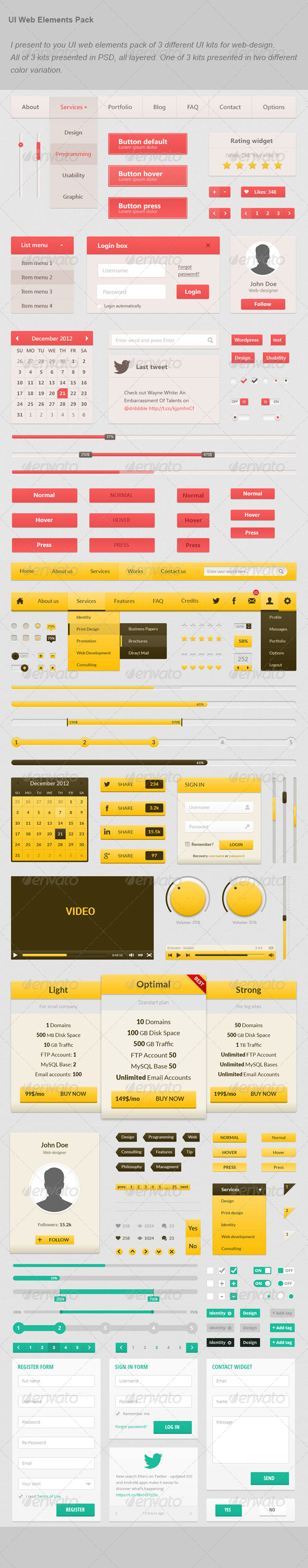 GraphicRiver UI Web Elements Pack 6608178