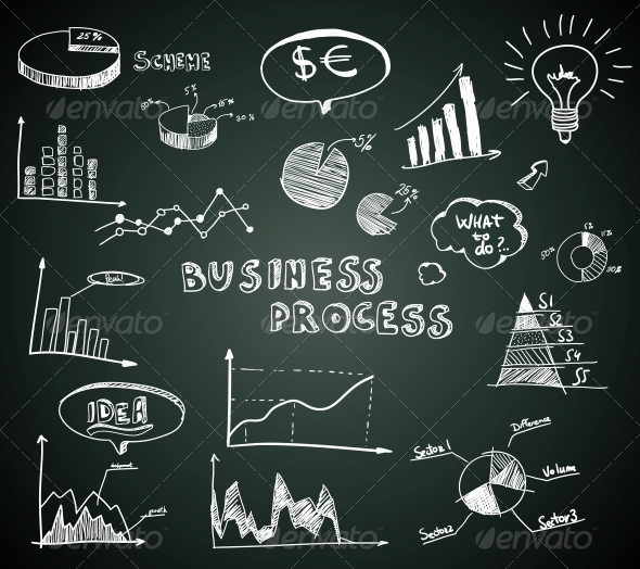 GraphicRiver Doodle Business Diagrams Set on Blackboard 6608190