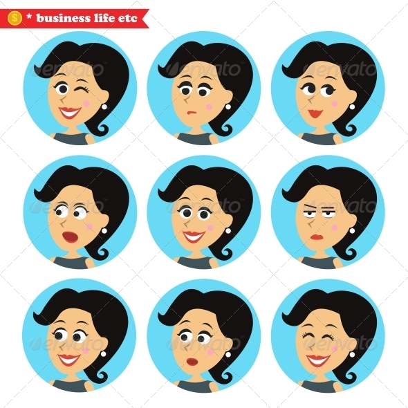GraphicRiver Facial Emotions Icons Set 6608232