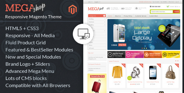 ThemeForest Mega Shop Magento Responsive Template 6608610