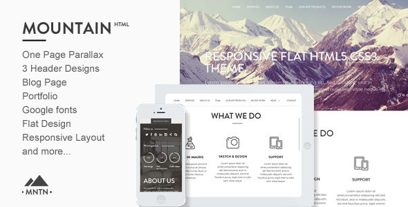 ThemeForest Mountain One Page Parallax Html Template 6608633