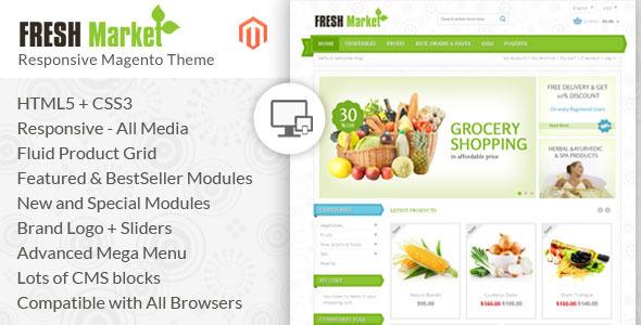 ThemeForest Fresh Market Magento Responsive Theme 6608703