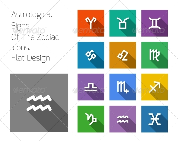 GraphicRiver Zodiac Symbol Icons on Color Background 6608758