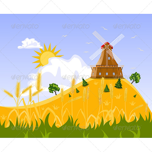 GraphicRiver Wheat Field and Mill 6608772