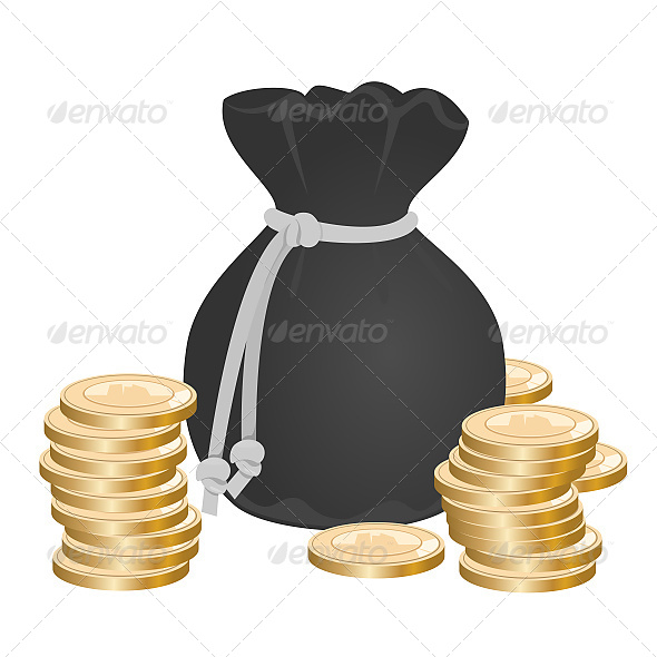 GraphicRiver Sack with Money on Pile of Golden Coins 6608825