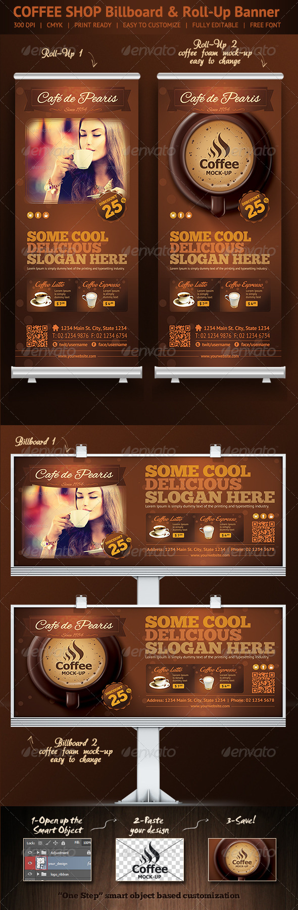 GraphicRiver Coffee Shop Roll-Up Banner & Billboard Template 6609019