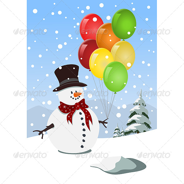 GraphicRiver Happy Snowman Holding Colorful Balloons 6609032