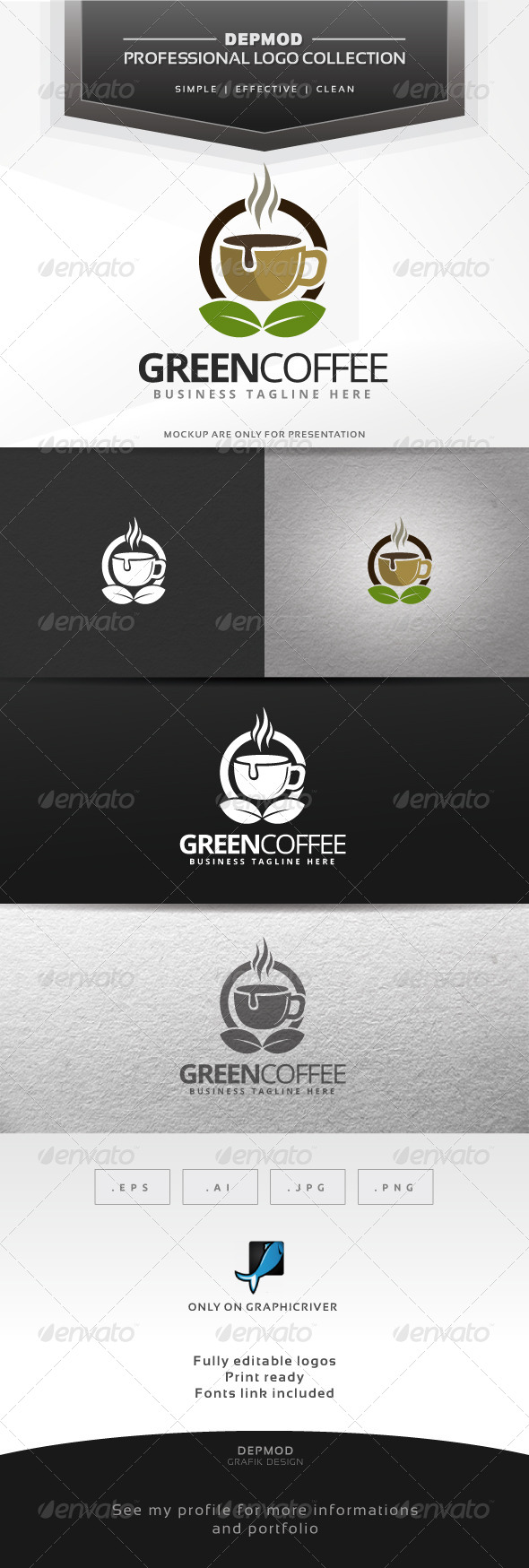 GraphicRiver Green Coffee Logo 6609549