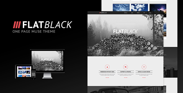 ThemeForest Flatblack One Page Muse Theme 6609704