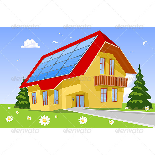 GraphicRiver House with Solar Panels on the Roof 6610102