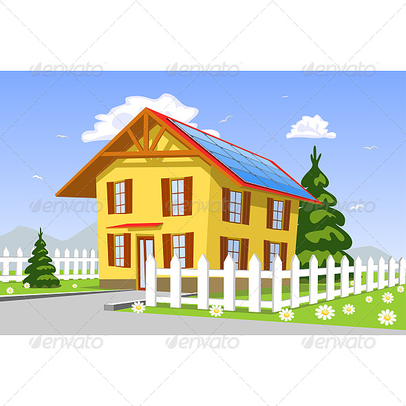 GraphicRiver House with Solar Panels on the Roof 6610125