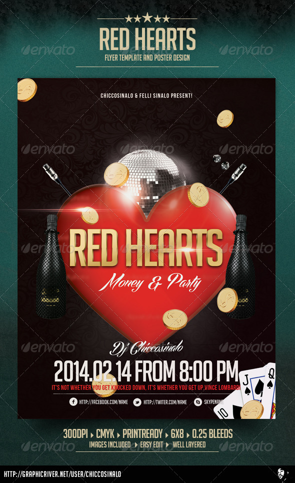 Red Hearts Flyer Template - Events Flyers