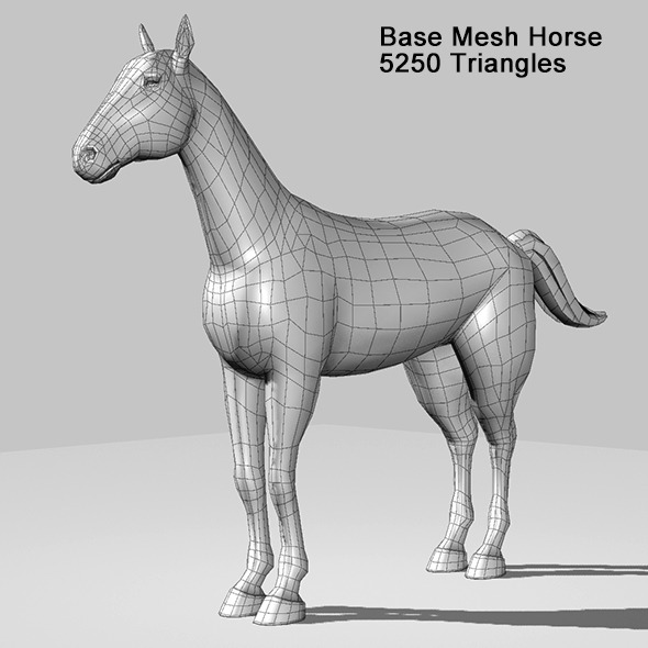 Base Mesh Horse - 3DOcean Item for Sale