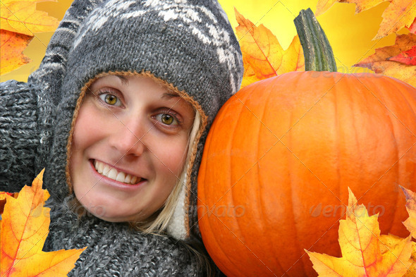 Girl with big pumpkin - Stock Photo - Images