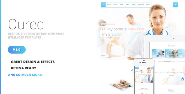 ThemeForest Cured Bootstrap One Page HTML CSS Template 6612202