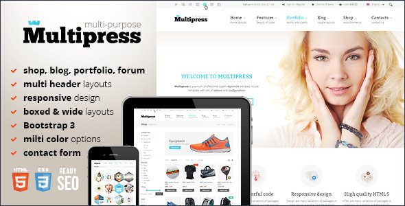 Multipress – Responsive HTML5 Template (Business) images