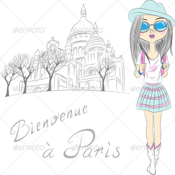 GraphicRiver Vector Beautiful Fashion Girl in Paris 6612338