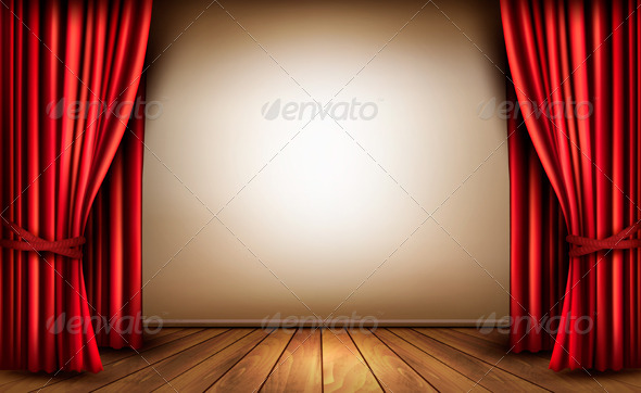 GraphicRiver Background with Red Velvet Curtain 6612410