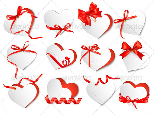 Set of Beautiful Gift Cards with Red Gift Bows