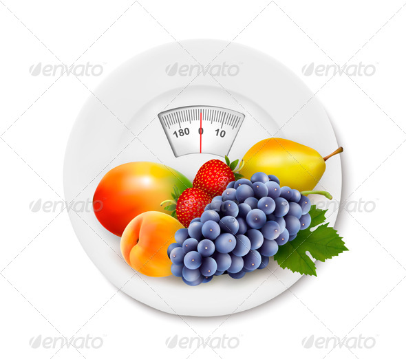 GraphicRiver Fruit on the Weight Scale Diet Concept 6612531