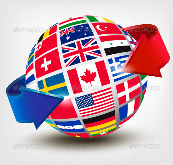 GraphicRiver Flags of the World on a Globe with an Arrow 6612534