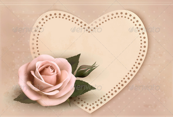 GraphicRiver Retro Greeting Card with Pink Rose and Heart 6612624