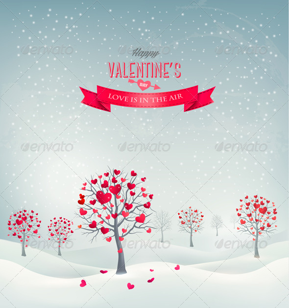 Holiday Retro Background Valentine Trees with Hearts