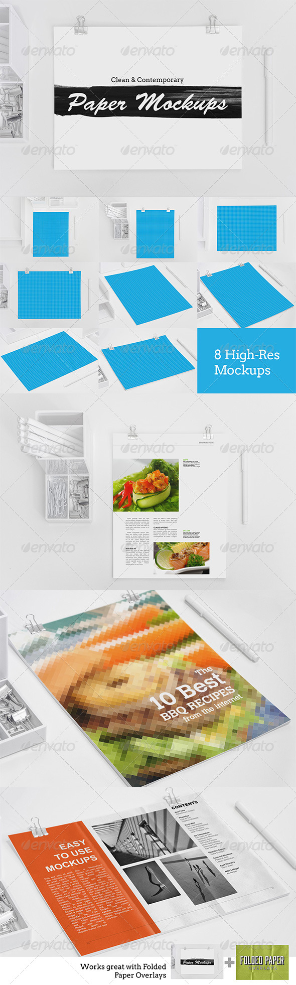 8 Clean & Contemporary Paper Mockups - Print Product Mock-Ups