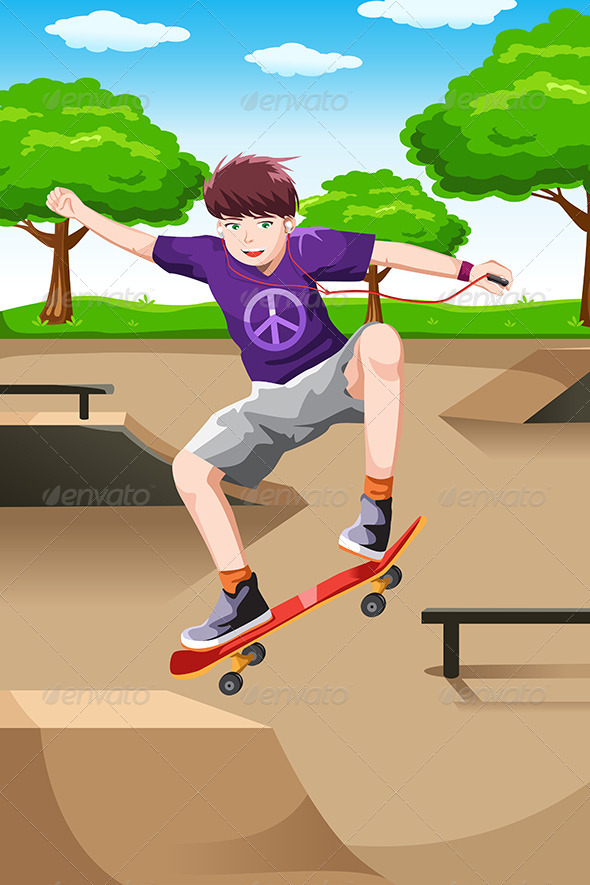 GraphicRiver Happy Kid Playing Skateboard 6613088