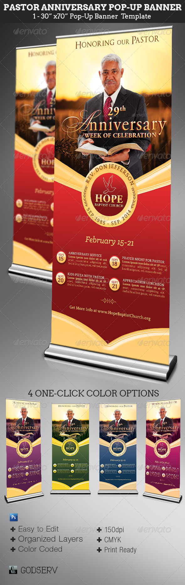 Pastor Anniversary Pop Up Banner Template Graphicmule