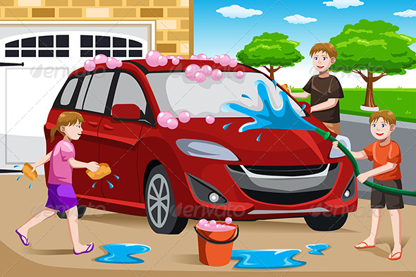 GraphicRiver Father and his Kids Washing Car 6613233