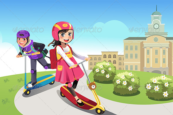 GraphicRiver Kids Riding Scooter 6613395