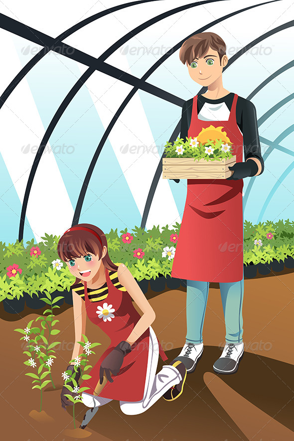 GraphicRiver Planting in Greenhouse 6613470