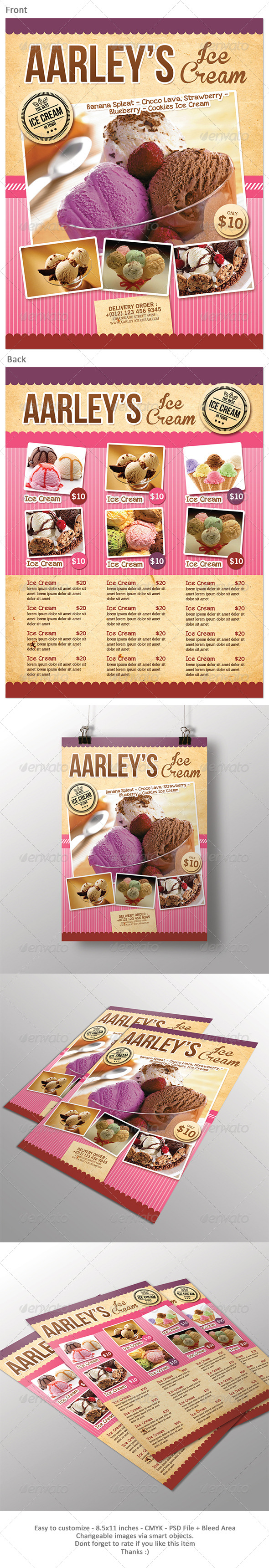 Ice Cream Menu Flyer