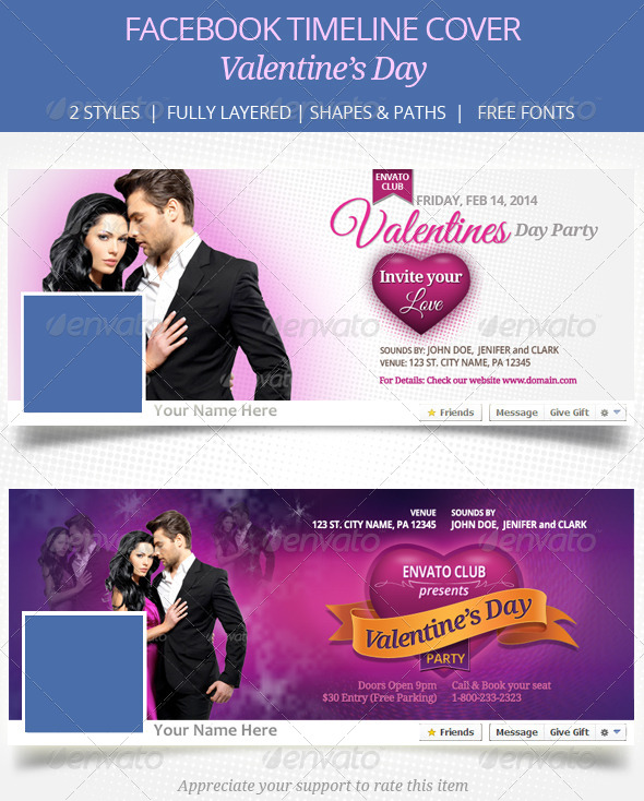 GraphicRiver Valentines Day Facebook Timeline Cover 6605195