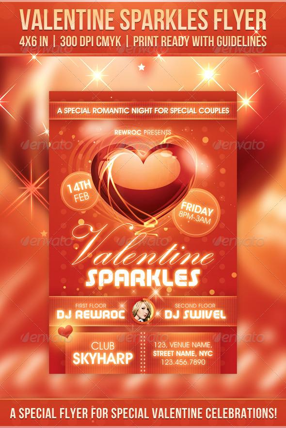 GraphicRiver Valentine Sparkles Flyer 6614728