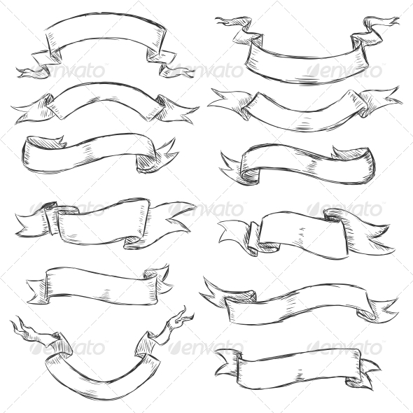 GraphicRiver Sketch Ribbons 6614730