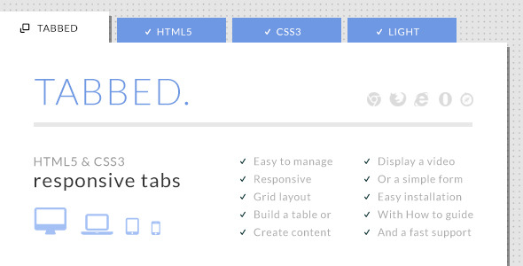Tabbed - HTML5 & CSS3 Responsive Tabs