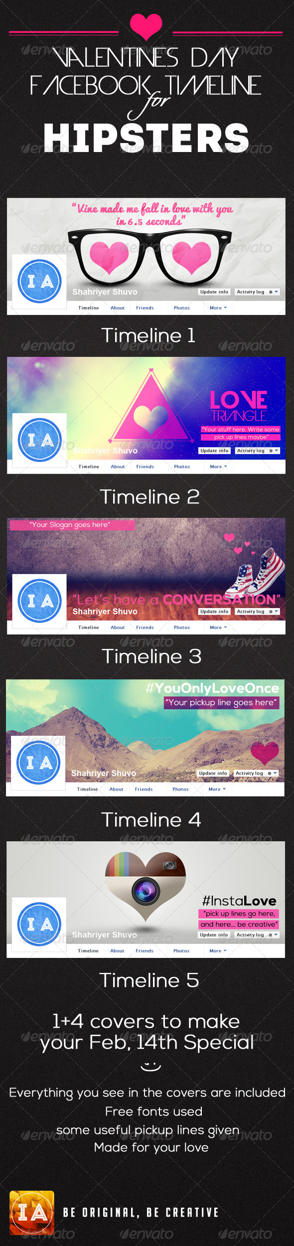 GraphicRiver Valentines Day Hipster Timelines 6614876